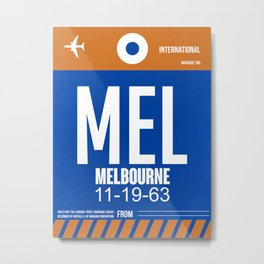 MEL Melbourne Luggage Tag 2 Metal Print