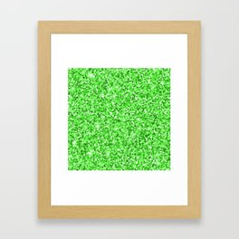 Abstract modern neon green glitter Framed Art Print