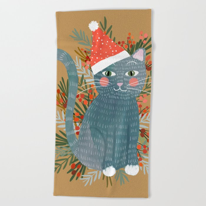 Blue Cat Cute Christmas Xmas Tree Holiday Funny Cat Art Cat Lady Gift Unique Pet Gifts Beach Towel By Miacharro