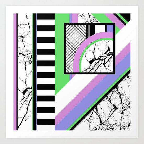 AMPS Deux - Abstract, Marble, Pastel, Stripes Art Print