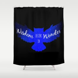 Wisdom Begins in Wonder - Galaxy Owl with Dark Background Shower Curtain