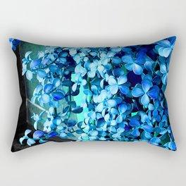 Periwinkle Blue Flowers Cascading Down Green Planter Rectangular Pillow
