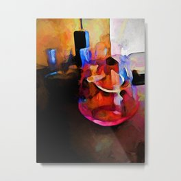 Still Life with a Pink Glass and a Gold Wall Metal Print