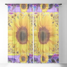 BLUE MORNING GLORIES SUNFLOWERS  BLACK PURPLE ABSTRACT Sheer Curtain