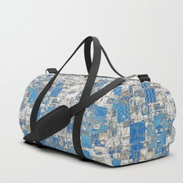 Multi Geometrical Pattern Faded Blues Duffle Bag