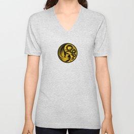 Yellow and Black Dragon Phoenix Yin Yang Unisex V-Neck