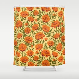 Marigold Flowers Pattern Shower Curtain