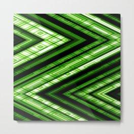 Zig Zag Pattern green Metal Print