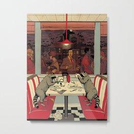 Raccoon Diners Metal Print