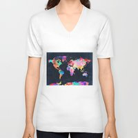 map V-neck T-shirts featuring World map by Bekim ART