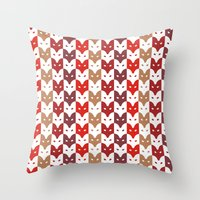 foxes Throw Pillows featuring Foxes  by creaziz