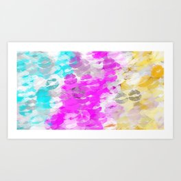 pink blue and orange kisses lipstick abstract background Art Print