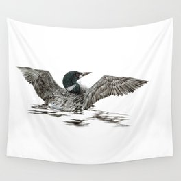 Morning Stretch - Common Loon Wall Tapestry