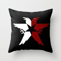 infamous Throw Pillows featuring Infamous: Second Son - Jacket Bird Logo (Solid) by Dsavage94