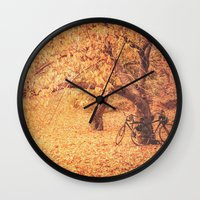 new york city Wall Clocks featuring Autumn - New York City by Vivienne Gucwa