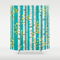 birch Shower Curtains featuring Birch wood by Rceeh