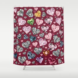 Heart Diamonds are Forever Love Maroon Shower Curtain