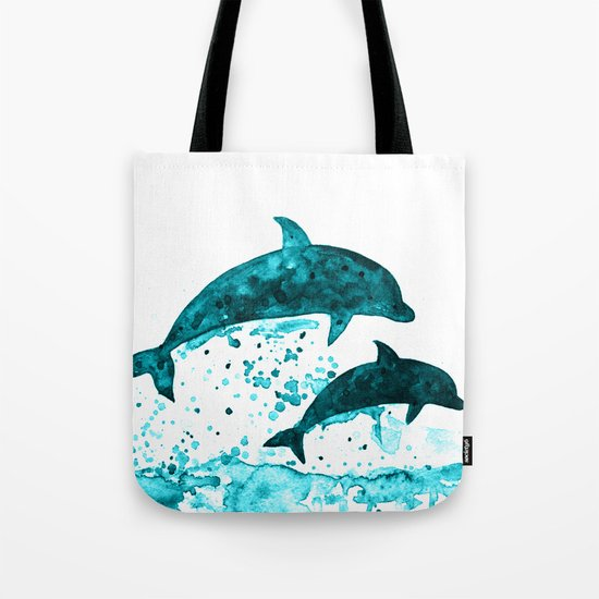 Dolphins, navy blue Tote Bag