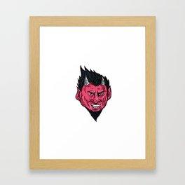 Demon Horns Goatee Head Drawing Framed Art Print