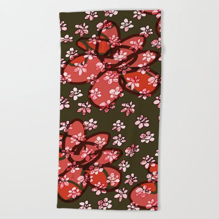 Seamless Pattern / Pink Flowers Beach Towel