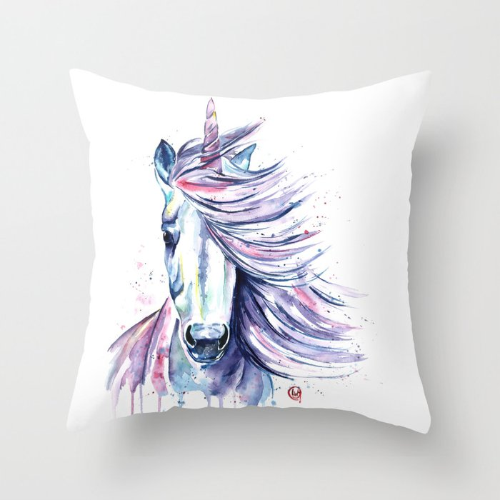 Unicorn - Gust Throw Pillow