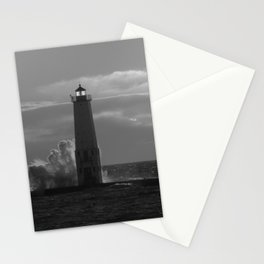 Lighthouse on Lake Michigan - Black and White Stationery Cards