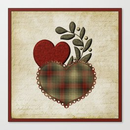 Red & Green Plaid Heart Love Letter Canvas Print