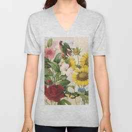 Sunflowers  With Butterflies and a Bird Unisex V-Neck
