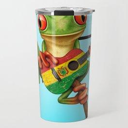 Tree Frog Playing Acoustic Guitar with Flag of Bolivia Travel Mug