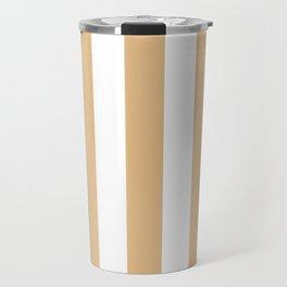Gold (Crayola) pink - solid color - white vertical lines pattern Travel Mug