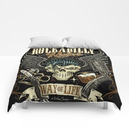 Rockabilly Rules Way of Life Comforters