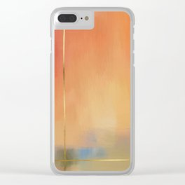 Abstract Landscape With Golden Lines Painting Clear iPhone Case