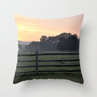 woodstock Throw Pillows featuring Billings Farm Sunrise at Woodstock, Vermont  by Ruben Alexander