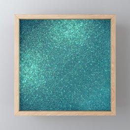 Chic Elegant Teal Blue Sparkly Glitter  Framed Mini Art Print