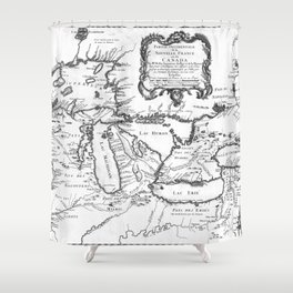 Vintage Map of The Great Lakes (1755) BW Shower Curtain