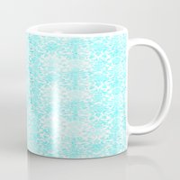 aqua Mugs featuring Aqua Blue Damask by 2sweet4words Designs