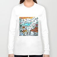 ski Long Sleeve T-shirts featuring Penguin Ski by Phil Fung