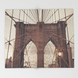 Moody Brooklyn Bridge Throw Blanket