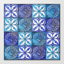 Blue Mexican watercolor painted tiles Canvas Print