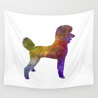 poodle Wall Tapestries featuring Poodle 01 in watercolor by Paulrommer