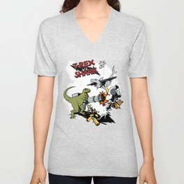 T-Rex VS Shark  Unisex V-Neck