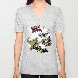 T-Rex VS Shark  Unisex V-Neck