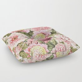 Vintage & Shabby Chic Floral Peony & Lily Flowers Watercolor Pattern Floor Pillow