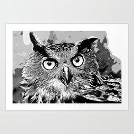 owl strix bird v2 vector art black white Art Print