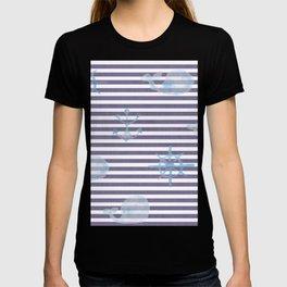 Whale Watercolor Linen Stripes T-shirt
