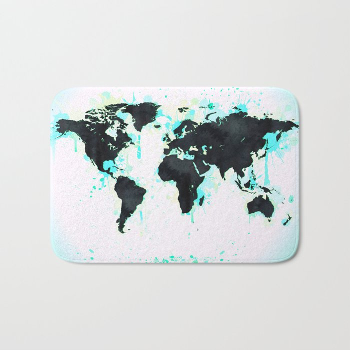 World Map Turquoise Paint and Black Ink Bath Mat