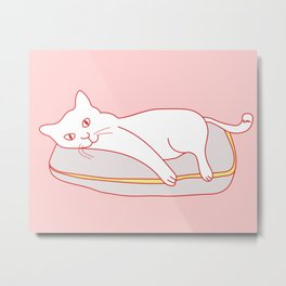 Home Sweet Home With Cat Metal Print
