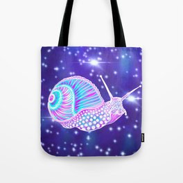 Psychedelic Galaxy Snail Tote Bag