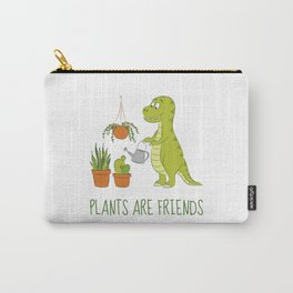 Plants are friends - Cute dino watering his houseplants Carry-All Pouch