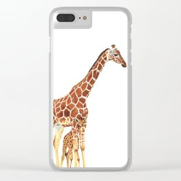 Giraffe Art - A Mother's Love - By Sharon Cummings Clear iPhone Case
